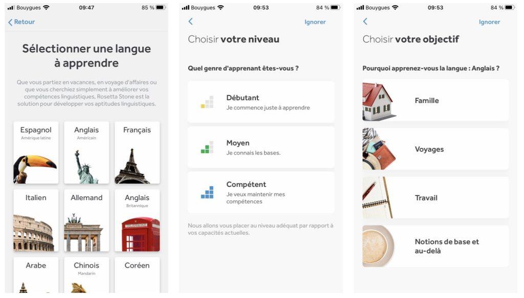 Choisir une langue de départ sur l'application Rosetta Stone