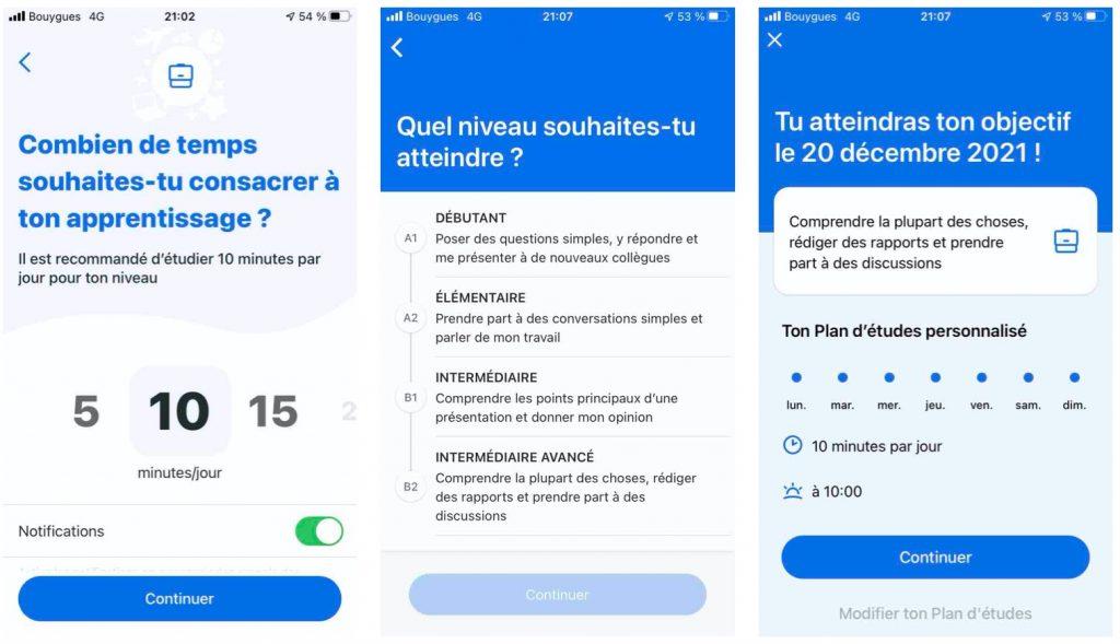 Arrivée sur l'application Busuu, choisir une langue à apprendre
