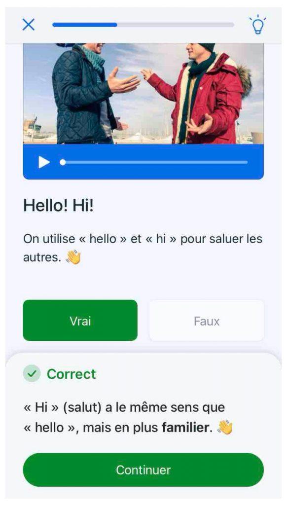 Exemple de leçon pour apprendre une langue