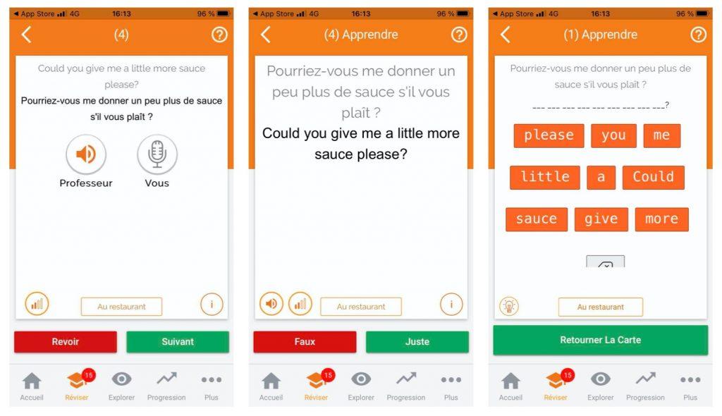 Exemple d'exercices pour apprendre une langue sur Mosalingua