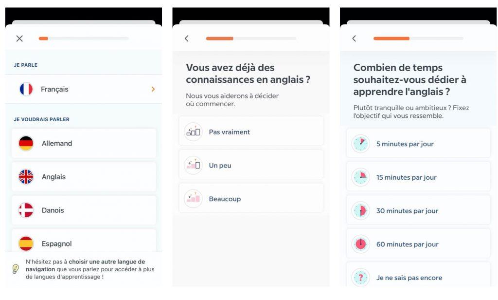 Prise en main de l'application pour apprendre une langue avec une interface simple